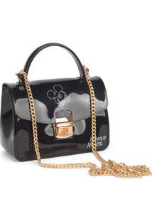 Mini Bolsa Luxcel Transversal Mickey Preta