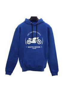 Blusa Moletom Canguru Moto Rider - Azul