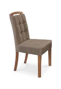 Cadeira De Jantar Estofada, Pé Imbuia Mel, Veludo Marrom, Zeus