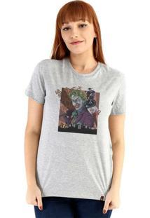 Baby Look Ouroboros Manga Curta Joker, O Palhaço - Feminino-Cinza