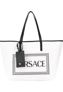Versace 90S Vintage Logo Tote - Branco