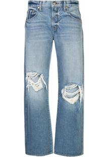 Khaite Calça Jeans Reta Desgastada - Azul