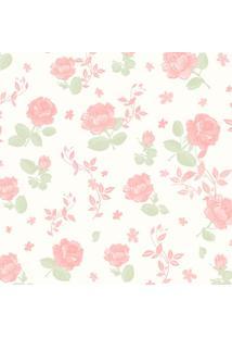Papel De Parede Infantil Flores Branco E Rosa (950X52)