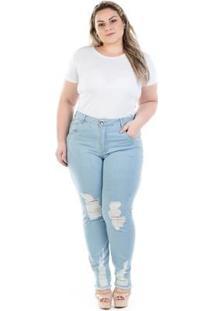 Calça Feminina Jeans Cigarrete Cintura Alta Destroyed Plus Size - Feminino-Jeans Claro