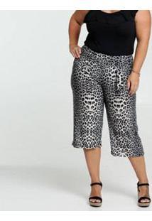 Calça Feminina Pantacourt Estampa Animal Print Plus Size