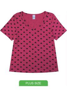 Blusa Com Decote V E Estampa Mini Print Rosa