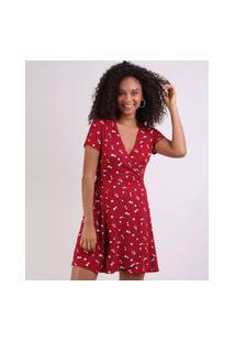 Vestido Feminino Curto Transpassado Estampado Floral Manga Curta Vermelho