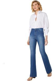 Calça Jeans Flare Nervura Interrompida