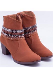 Ankle Boot Dakota Apliques Castanho 34