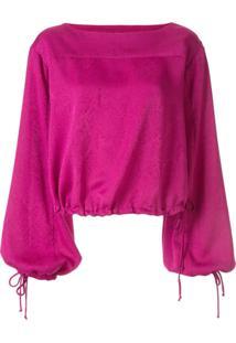 Manning Cartell Blusa Com Decote Quadrado E Amarração Nos Punhos - Roxo