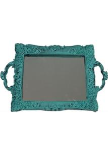 Bandeja Espelhada Decorativa Retangular 20X35Cm Patina Azul