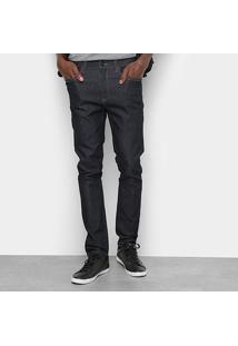 Calça Jeans Skinny Cavalera Lavagem Escura Cintura Média Masculina - Masculino-Azul Escuro