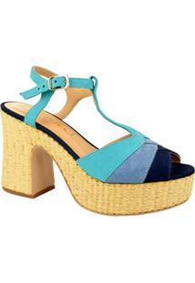 Sandália Plataforma Ferrucci Feminino - Feminino-Azul