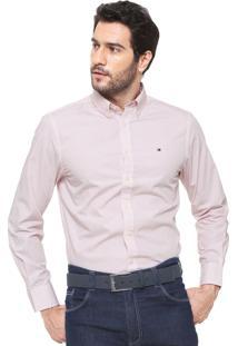Camisa Tommy Hilfiger Reta Estampada Branca/Vermelha