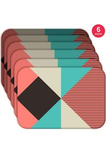 Jogo Americano Love Decor Wevans Abstrato Colorfull Kit Com 6 Pçs