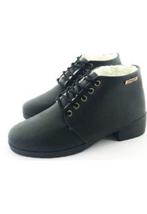 Bota Coturno Forrada Em Lã Quality Shoes Feminina Courino Preto 34