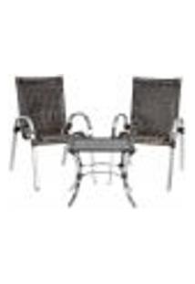 Conjunto 2 Cadeiras E Mesa De Centro Colômbia Aluminio Área Jardim Varanda Fibra Sintetica Pedra Ferro