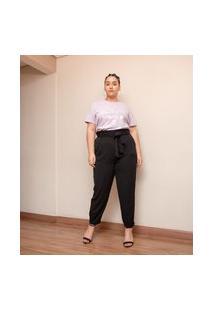 Calça Clochard Em Alfaiataria Com Cinto Curve & Plus Size   Ashua Curve E Plus Size   Preto   Eg