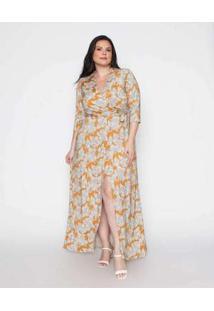 Vestido Almaria Plus Size Pianeta Estampado Cheddar