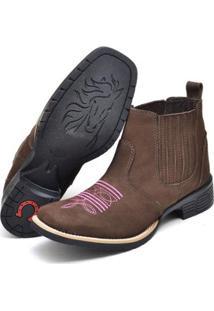 Botina Couro Texana Click Calçados Cano Curto Bico Quadrado Nobuck Feminina - Feminino-Café