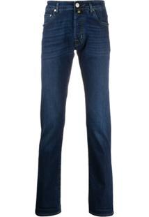 Jacob Cohen Calça Jeans Slim Com Detalhe De Lenço - Azul