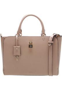 Bolsa Em Couro Com Cadeado- Nude- 24X33X14Cmarezzo & Co.