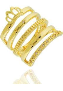 Anel Largo Coroa Zircônias Semi Joia - Feminino-Dourado