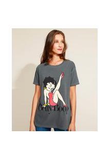 Blusa Feminina Ampla Betty Boop Manga Curta Decote Redondo Chumbo