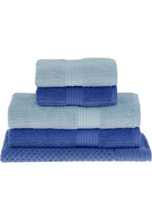 Jogo De Toalhas Canelado- Azul Claro & Azul- 5Pçsbuddemeyer