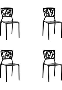 Kit 04 Cadeiras Melissa Preta Rivatti