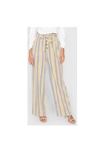 Calça Malwee Pantalona Listrada Off-White/Amarelo