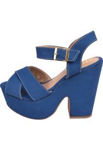 Sandália Chiquiteira Salto Grosso X Nobuck Azul Marinho Bra