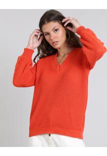 Suéter Feminino Em Tricô Decote V Laranja