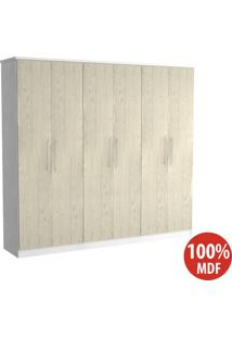 Guarda Roupa 6 Portas 100% Mdf 976 Branco/Marfim Areia - Foscarini