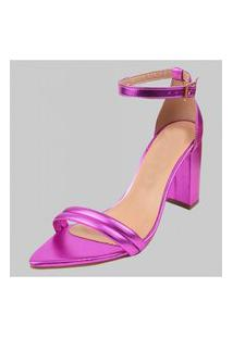 Sandálias Femininas Bico Fino Salto Dona Madame Pink