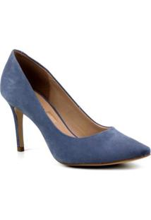 Scarpin Nobuck Emporionaka Salto Fino Feminino - Feminino-Azul