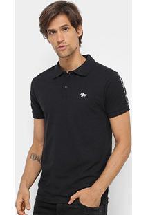 Camisa Polo Rg 518 Aplique Masculina - Masculino-Preto