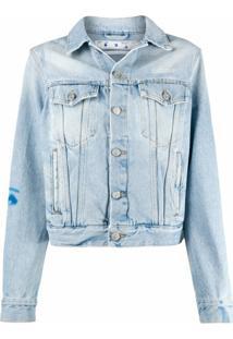 Off-White Jaqueta Jeans Com Estampa De Rosto - Azul