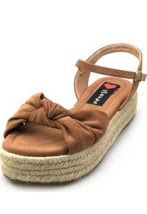 Salomé Espadrille Love Shoes Anabela Plataforma Corda Nó Caramelo