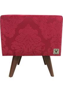 Puff Pé Palito Quadrado Alce Couch Jacquard Classic Vermelho 40Cm