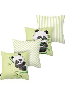 Kit Com 4 Capas Para Almofadas Infantis Panda Armonizzi
