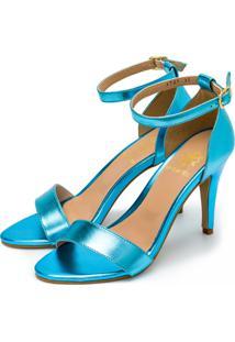 Sandália Feminina Flor Da Pele Salto Alto Em Azul Celeste Metalizado - Tricae