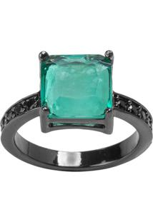 Anel Quadrado The Ring Boutique Pedra Cristal Turmalina Fusion Zircônias Pretas Ródio Negro