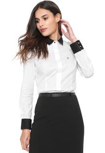 Camisa Dudalina Bicolor Branca/Preta