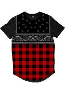 Camiseta Bsc Longline Xadrez Com Bandana Sublimada Preta Vermelha