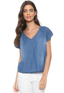 Blusa Jeans Cativa Estonada Azul