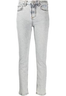 Msgm Calça Jeans Skinny Com Estampa De Logo - Azul