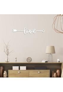 Escultura De Parede Em Mdf Flecha Com Love Branco - Médio