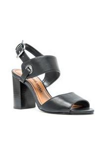 Sandalia Salto Bloco Com Ilhos Personalizado Preto