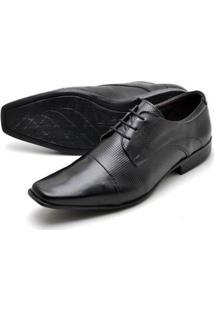 Sapato Social Couro Reta Oposta Bico Quadrado Masculino - Masculino-Preto